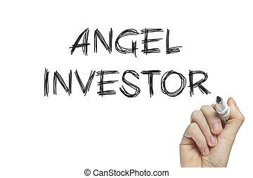 ręka, inwestor, anioł, pisanie