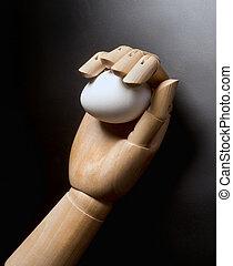 ręka., jajko