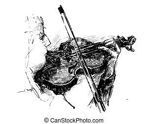 ręka, klasyczny, rysunek, instrument, muzyk, zaciągnąć, gry