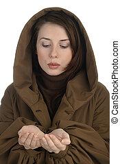 ręka, kobieta, młody, dzierżawa, wydrążenie