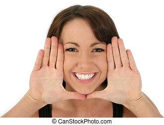 ręka, kobieta twarz