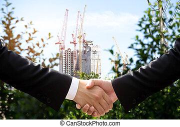 ręka, konceptualny, handlowy, środowisko, porozumienie, potrząsanie