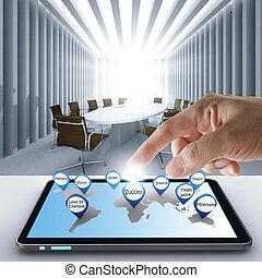 ręka, kropka, handlowy, powodzenie, ikona, z, tabliczka, komputer