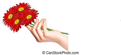 ręka., kwiaty, czerwony, vector.