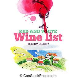 ręka, list., wino, menu, akwarela, pociągnięty, rys, ...