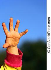 ręka, niebo, przeciw, dzieci
