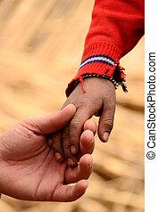 ręka, od, ojciec i syn, w, ameryka południowa, peru