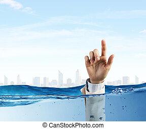 ręka, od, osoba, topienie, w, woda