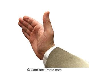ręka, od, przedimek określony przed rzeczownikami, biznesmen, napięty, dla, ręka, shake.
