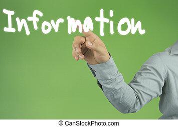 ręka, od, przedimek określony przed rzeczownikami, biznesmen, spoinowanie do, przedimek określony przed rzeczownikami, informacja, tekst, na, zielony, tło.