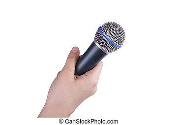 ręka, odizolowany, mikrofon