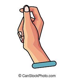 ręka, odizolowany, znak