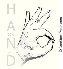 ręka, ok, odizolowany, znak