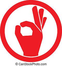 ręka, okay, ludzki, znak