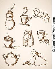 ręka, pociągnięty, kawa, ikony, rocznik wina