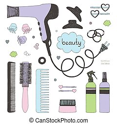 ręka, pociągnięty, komplet, od, włosy, styling., suszarka do włosów, hairbrushes, rozpyla, i, scrunchy., salon, piękno, care., miękki, barwny, rys, na białym, tło., doodle, styl, wektor, pozycje
