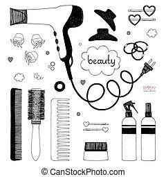 ręka, pociągnięty, komplet, od, włosy, styling., suszarka do włosów, hairbrushes, rozpyla, i, scrunchy., salon, piękno, care., czarnoskóry, rys, na białym, tło., wektor, pozycje