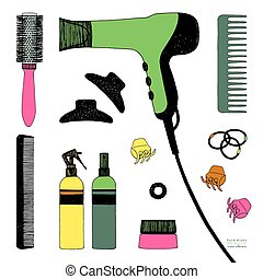 ręka, pociągnięty, komplet, od, włosy, styling., suszarka do włosów, hairbrushes, rozpyla, i, scrunchy., salon, piękno, care., czarnoskóry, kreska, barwny, rys, na białym, tło., wektor, pozycje