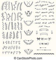 ręka, pociągnięty, rocznik wina, kwiatowy, elements., handsketched, wektor, projektować, e