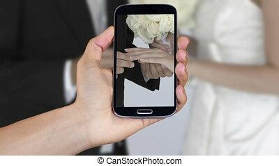 ręka, pokaz, ślub, wideoklipy, na, smar