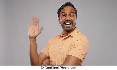 ręka, portret, falować, człowiek, indianin, szczęśliwy
