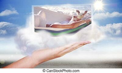 ręka, przedstawiając, plaża, i, święto, c