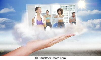 ręka, przedstawiając, sala gimnastyczna, i, stosowność, cli