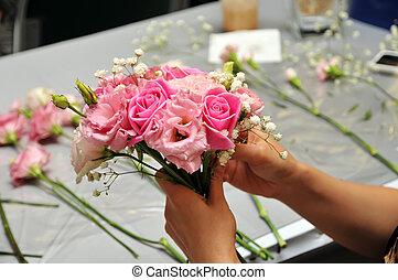 ręka, rozmieszczając, kwiat