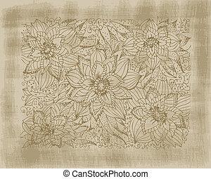 ręka, rysunek, kwiaty, na, grunge, tło