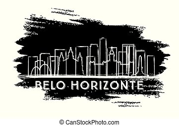 ręka, silhouette., sketch., brazylia, miasto, belo, sylwetka...