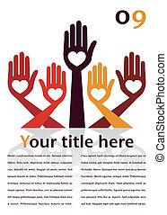 ręka, space., projektować, tekst