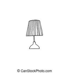 ręka, stół, biały, czarnoskóry, pociągnięty, wektor, illustration., rys, lampa, icon.