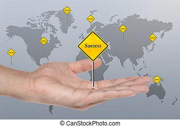 ręka, symbol, z, powodzenie, znak, handlowe pojęcie