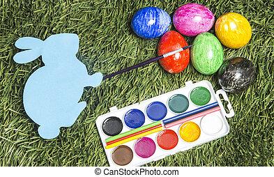 ręka, to jest, jaja, sześć, karta, malarstwo, królik, pędzel, colors.