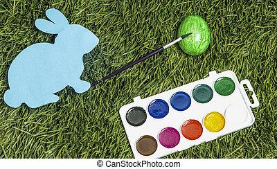 ręka, to jest, królik, karta, green., malarstwo, jajko, pędzel