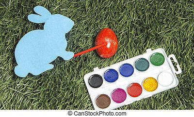 ręka, to jest, królik, karta, markier, malarstwo, red., jajko