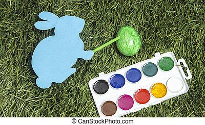ręka, to jest, królik, markier, green., malarstwo, jajko, karta