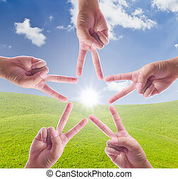 ręka, ustalać, gwiazda