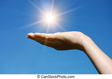ręka, utrzymywać, przeciw, błękitne niebo