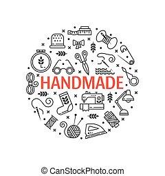 ręka, wektor, komplet, robiony, ikony