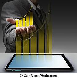 ręka, widać, faktyczny, złoty, wykres, z, tabliczka, komputer