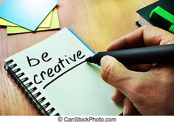 ręka, writting, tytuł, czuć się, creative., natchnienie, concept.