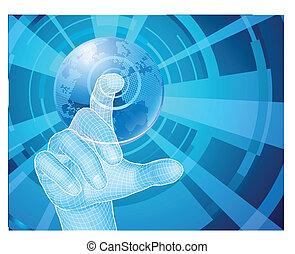 ręka, wybierając, światowa kula, pojęcie, tło