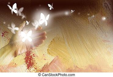 ręka, z, jarzący się, motyle