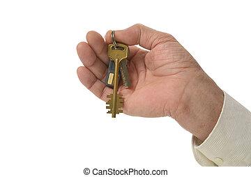 ręka, z, klucz
