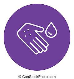 ręka, z, mikroby, kreska, icon.