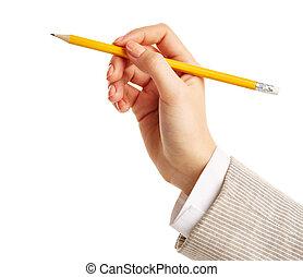 ręka, z, ołówek