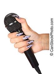 ręka, zawiera, odizolowany, samica, mikrofon, manicure