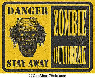 ręka, zombie, wektor, outbreak., eps8, drawn.