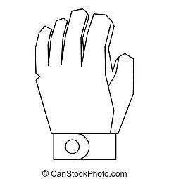 rękawiczka, styl, ikona, szkic, hokej